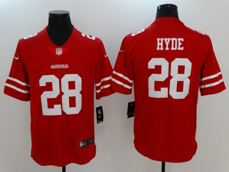 Men San Francisco 49ers 28 Hyde Red Nike Vapor Untouchable Limited NFL Jersey