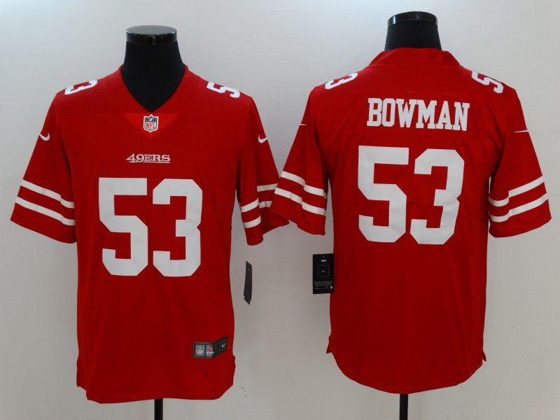Men San Francisco 49ers 53 Bowman Red Nike Vapor Untouchable Limited NFL Jersey
