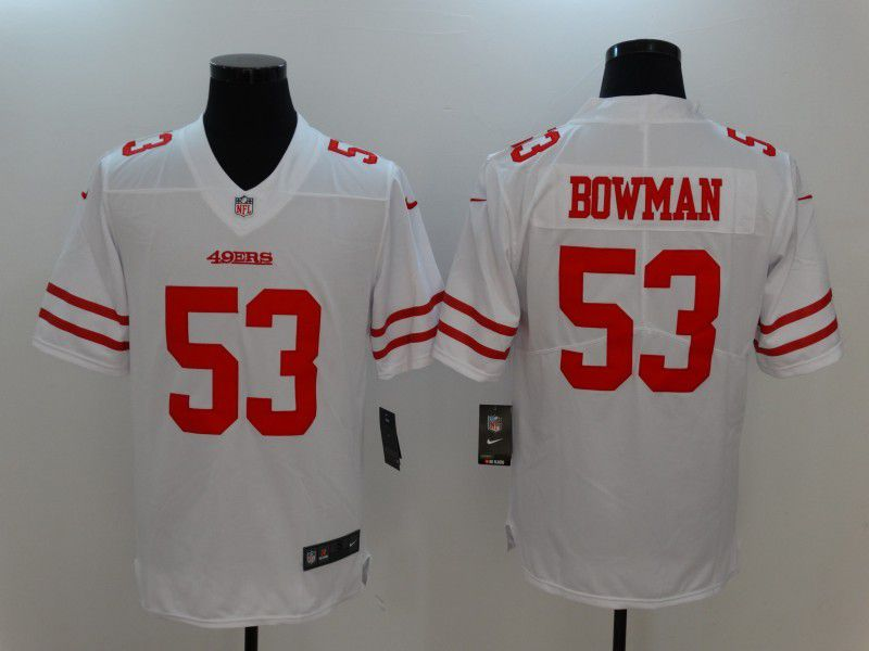 Men San Francisco 49ers 53 Bowman White Nike Vapor Untouchable Limited NFL Jersey