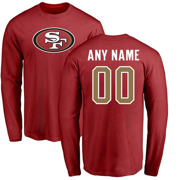 Men San Francisco 49ers NFL Pro Line Red Any Name and Number Logo Custom Long Sleeve T-Shirt