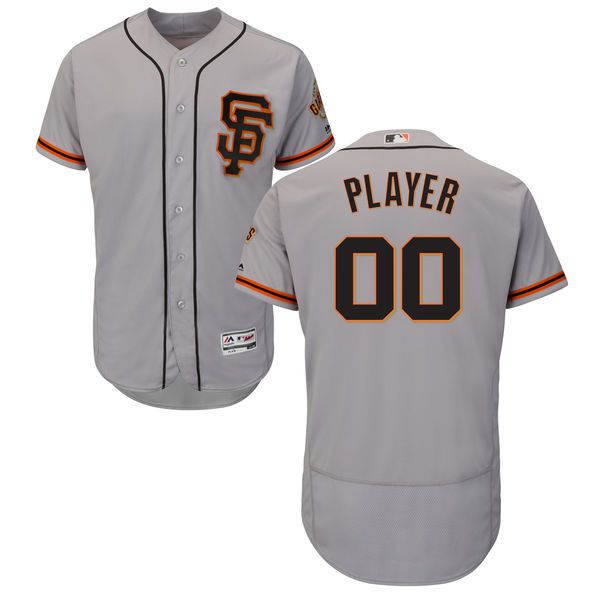 Men San Francisco Giants Majestic Alternate Gray Flex Base Authentic Collection Custom MLB Jersey