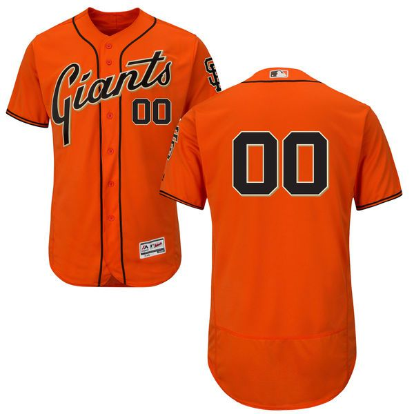 Men San Francisco Giants Majestic Alternate Orange Flex Base Authentic Collection Custom MLB Jersey