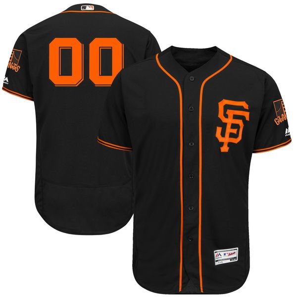 Men San Francisco Giants Majestic Black Alternate 2017 Flex Base Authentic Collection Custom MLB Jersey