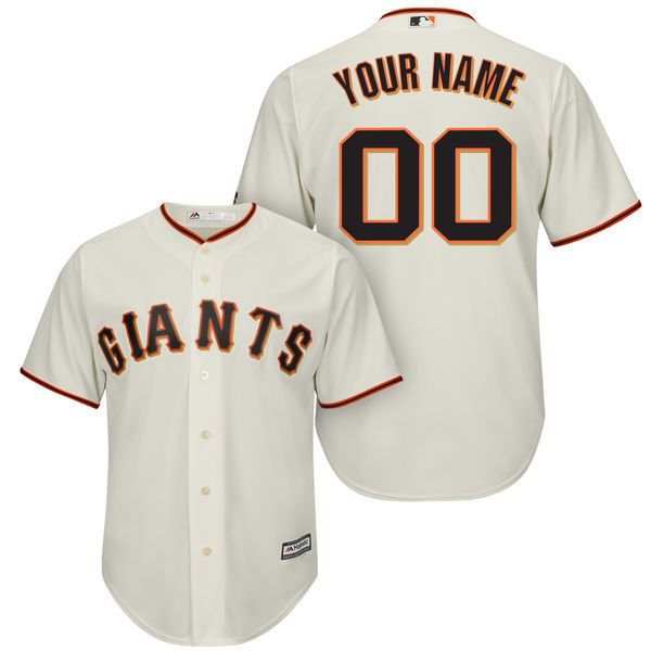 Men San Francisco Giants Majestic Cream Cool Base Custom MLB Jersey