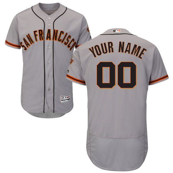 Men San Francisco Giants Majestic Road Gray Flex Base Authentic Collection Custom MLB Jersey
