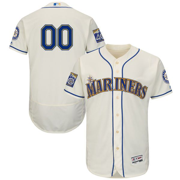 Men Seattle Mariners Majestic Alternate Cream 2017 Authentic Flex Base Custom MLB Jersey with Commemorative Patch