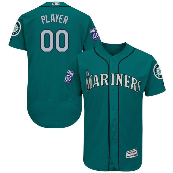 Men Seattle Mariners Majestic Alternate Green Aqua 2017 Authentic Flex Base Custom MLB Jersey with Commemorative Patch