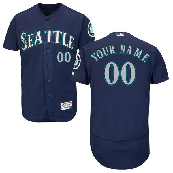 Men Seattle Mariners Majestic Alternate Navy Blue Flex Base Authentic Collection Custom MLB Jersey