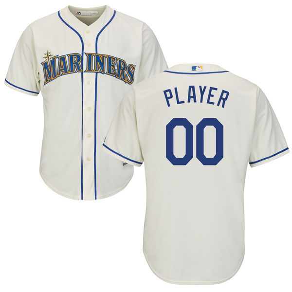 Men Seattle Mariners Majestic Cream Cool Base Custom MLB Jersey