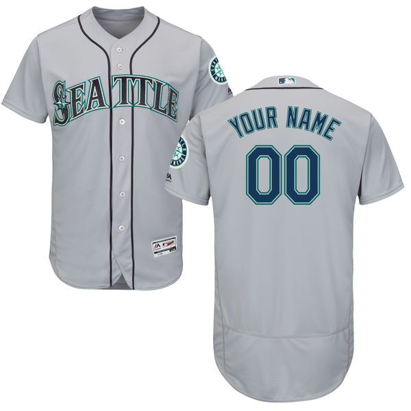 Men Seattle Mariners Majestic Road Gray Flex Base Authentic Collection Custom MLB Jersey