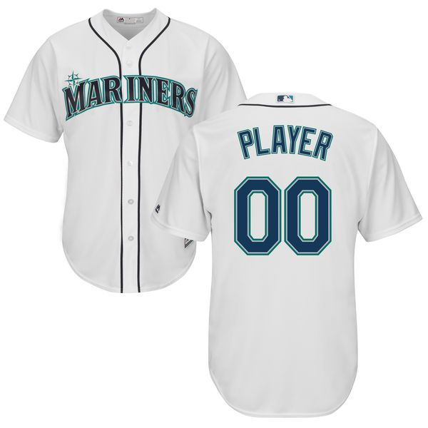 Men Seattle Mariners Majestic White Cool Base Custom MLB Jersey
