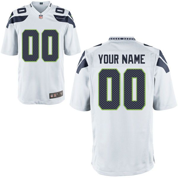 Men Seattle Seahawks Custom Game White NFL Jersey