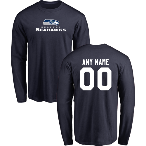 Men Seattle Seahawks Design-Your-Own Long Sleeve Custom NFL T-Shirt