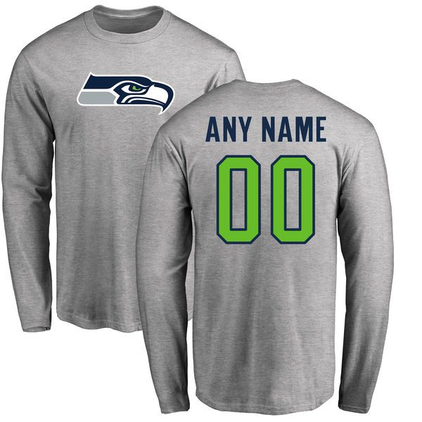 Men Seattle Seahawks NFL Pro Line Ash Custom Name and Number Logo Long Sleeve T-Shirt