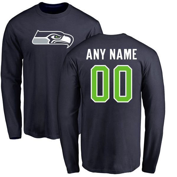 Men Seattle Seahawks NFL Pro Line Navy Any Name and Number Logo Custom Long Sleeve T-Shirt