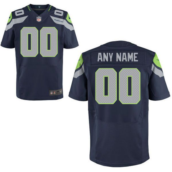 Men Seattle Seahawks Nike College Navy Custom Elite NFL Jersey