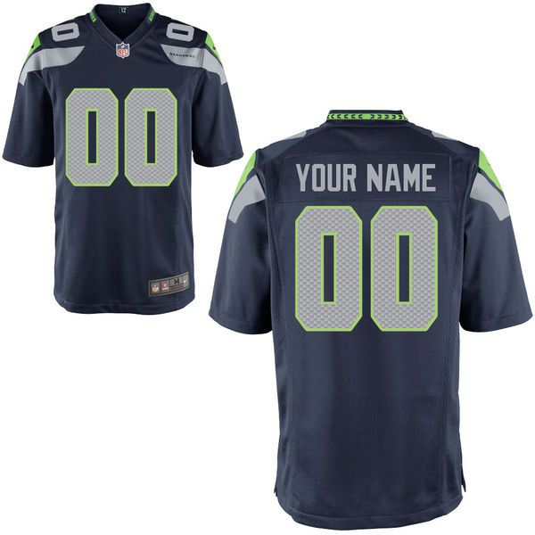 Men Seattle Seahawks Nike College Navy Custom Game NFL Jersey