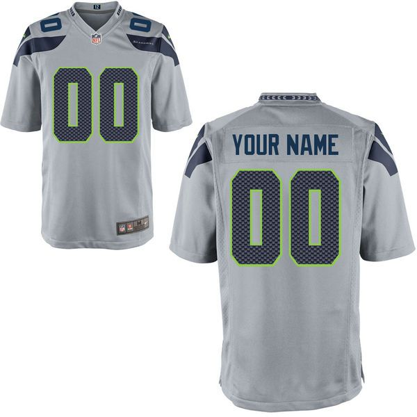 Men Seattle Seahawks Nike Custom Alternate Game NFL Jersey - Gray