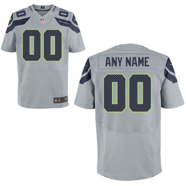 Men Seattle Seahawks Nike Gray Custom Elite NFL Jersey