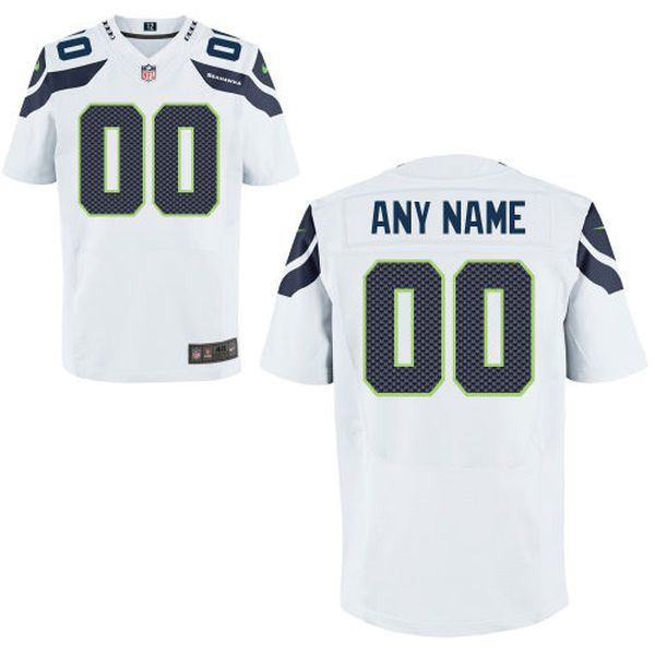 Men Seattle Seahawks Nike White Custom Elite NFL Jersey