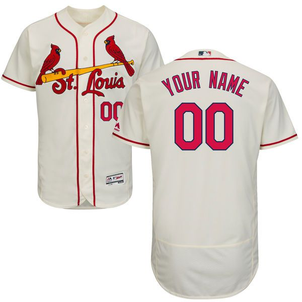 Men St. Louis Cardinals Majestic AlternateCream Ivory Flex Base Authentic Collection Custom MLB Jersey