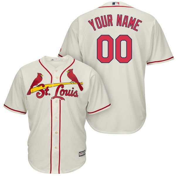 Men St. Louis Cardinals Majestic Cream Alternate Cool Base Custom MLB Jersey