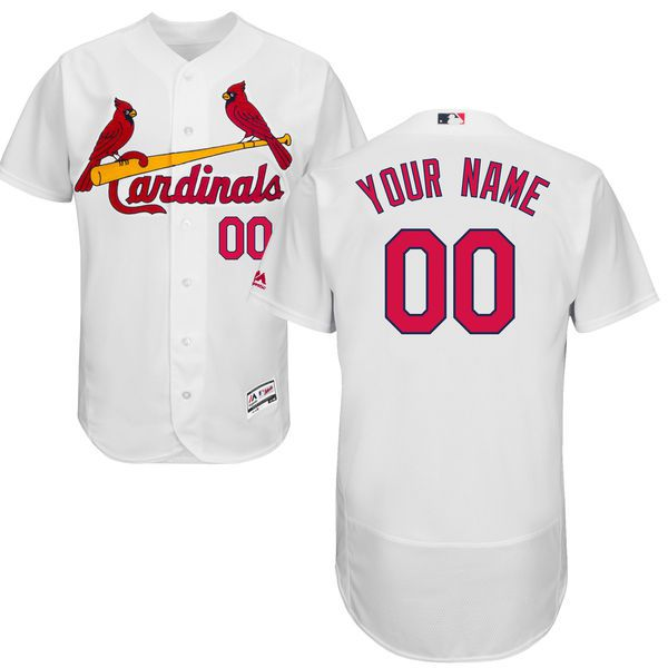 Men St. Louis Cardinals Majestic Home White Flex Base Authentic Collection Custom MLB Jersey