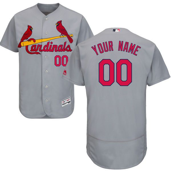 Men St. Louis Cardinals Majestic Road Gray Flex Base Authentic Collection Custom MLB Jersey