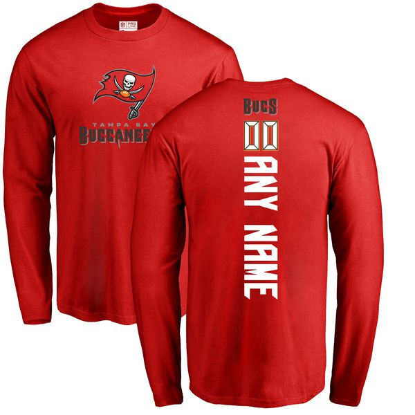 Men Tampa Bay Buccaneers NFL Pro Line Red Custom Backer Long Sleeve T-Shirt