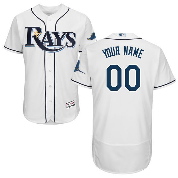 Men Tampa Bay Rays Majestic Home White Flex Base Authentic Collection Custom MLB Jersey