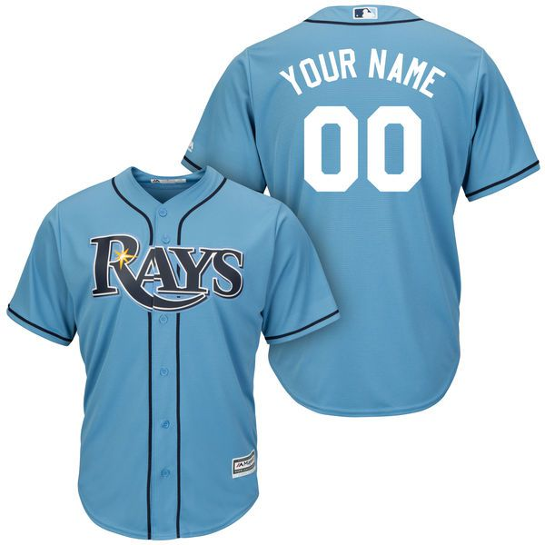 Men Tampa Bay Rays Majestic Light Blue Cool Base Custom MLB Jersey