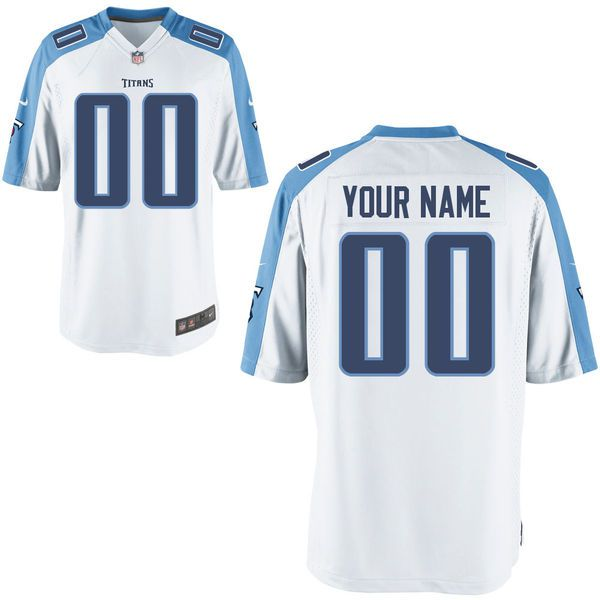 Men Tennessee Titans Custom Game White NFL Jersey