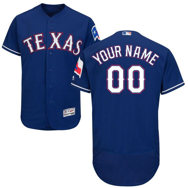 Men Texas Rangers Majestic Alternate Royal Blue Flex Base Authentic Collection Custom MLB Jersey