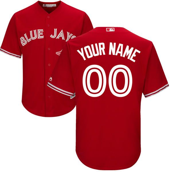 Men Toronto Blue Jays Majestic Red Scarlet 2017 Cool Base Replica Custom MLB Jersey