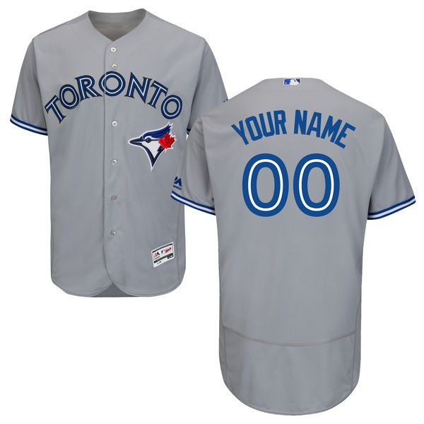Men Toronto Blue Jays Majestic Road Gray Flex Base Authentic Collection Custom MLB Jersey