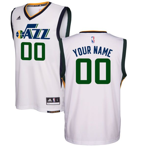 Men Utah Jazz Adidas White Home Replica Custom NBA Jersey