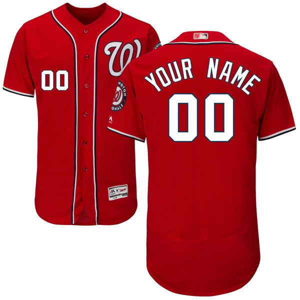 Men Washington Nationals Majestic Alternate Red Scarlet Flex Base Authentic Collection Custom MLB Jersey