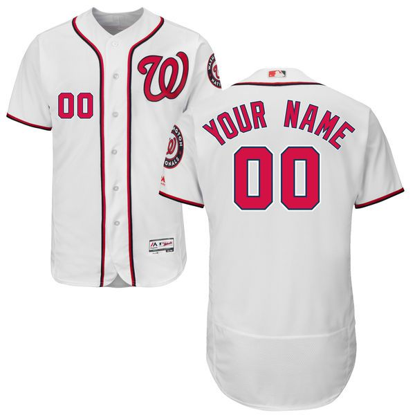 Men Washington Nationals Majestic Home White Flex Base Authentic Collection Custom MLB Jersey