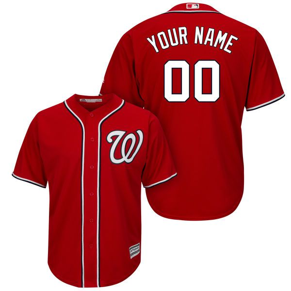Men Washington Nationals Majestic Red Cool Base Custom MLB Jersey