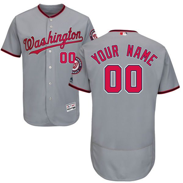 Men Washington Nationals Majestic Road Gray Flex Base Authentic Collection Custom MLB Jersey