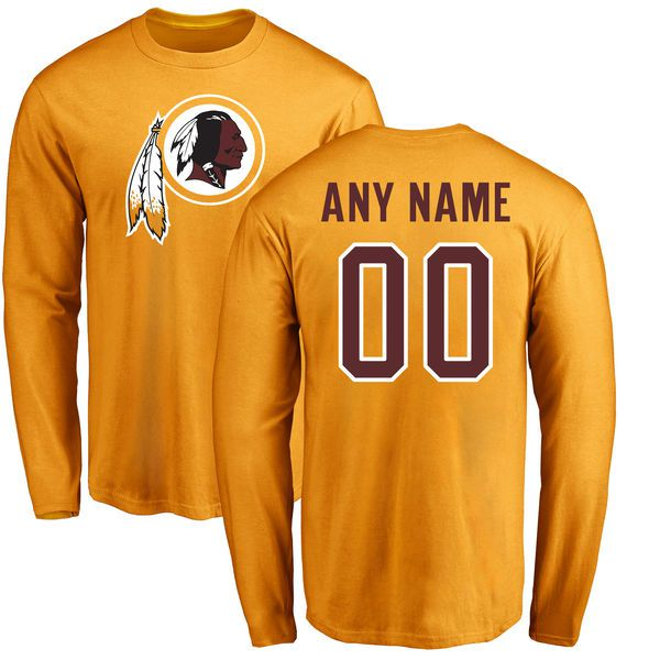 Men Washington Redskins NFL Pro Line Gold Custom Name and Number Logo Long Sleeve T-Shirt