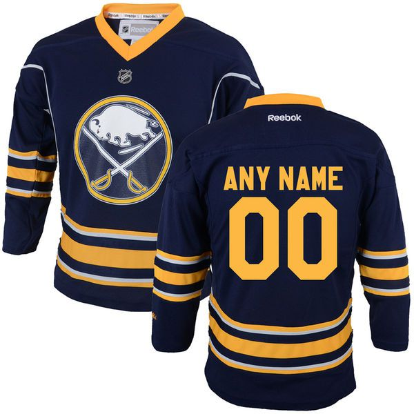Reebok Buffalo Sabres Youth Replica Home Custom NHL Jersey - Navy Blue