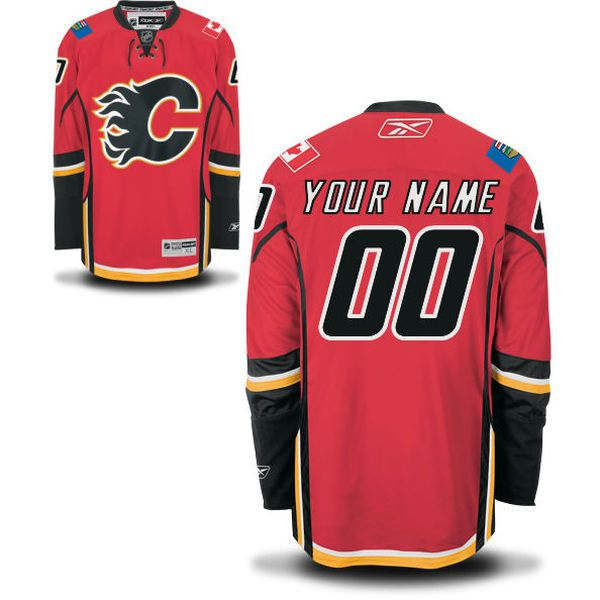 Reebok Calgary Flames Men Premier Home Custom NHL Jersey - Red