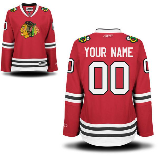 Reebok Chicago Blackhawks Women Premier Home Custom NHL Jersey - Red-