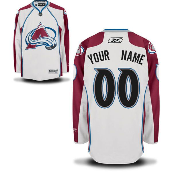 Reebok Colorado Avalanche Men Premier Away Custom NHL Jersey - White