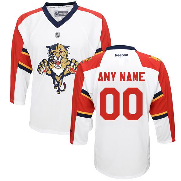Reebok Florida Panthers Youth Replica Away Custom NHL Jersey - White