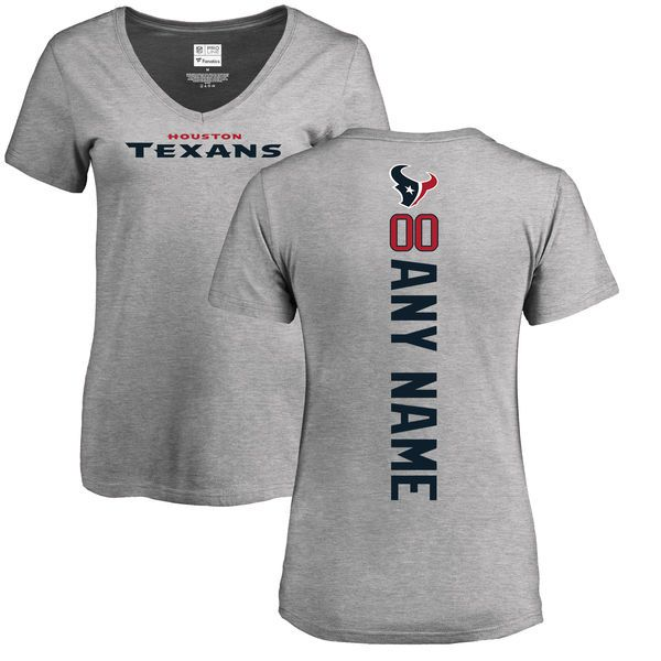 WoMen Houston Texans NFL Pro Line Ash Personalized Backer V-Neck T-Shirt