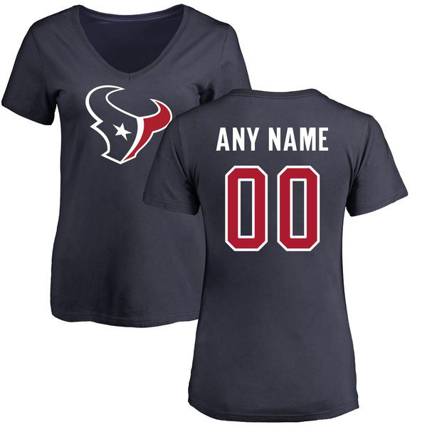 WoMen Houston Texans NFL Pro Line Navy Any Name Number Logo Personalized Slim Fit T-Shirt