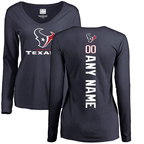 WoMen Houston Texans NFL Pro Line Navy Personalized Backer Slim Fit Long Sleeve T-Shirt