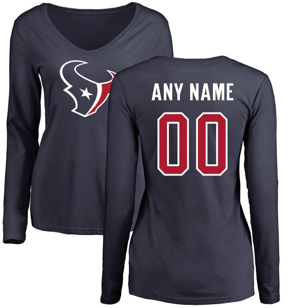WoMen Houston Texans NFL Pro Line Navy Personalized Name Number Logo Slim Fit Long Sleeve T-Shirt